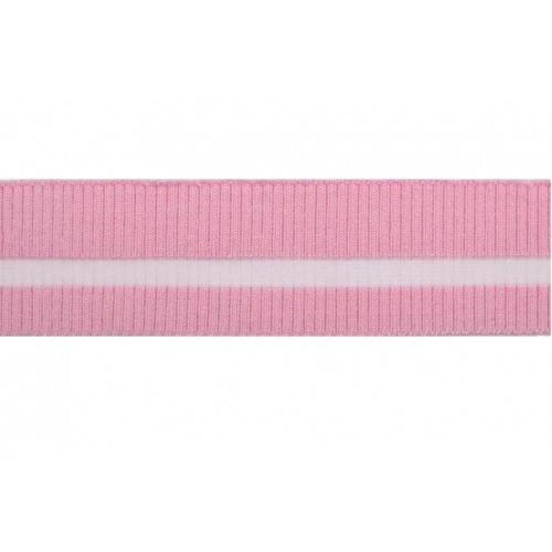 Подвяз трикотажный с прозрачной полосой вискоза 2*2 розовый