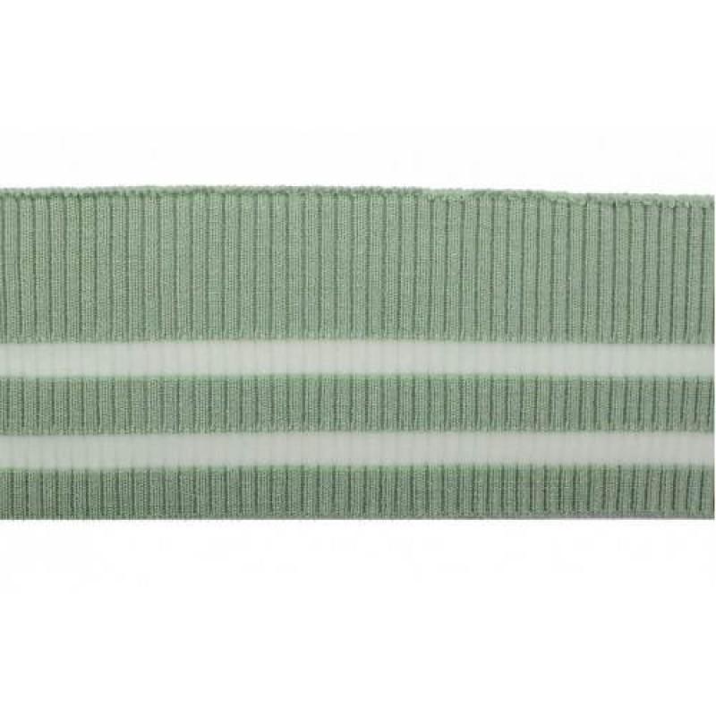 Подвяз трикотажный зелёный с прозрачными полосами вискоза 2*2