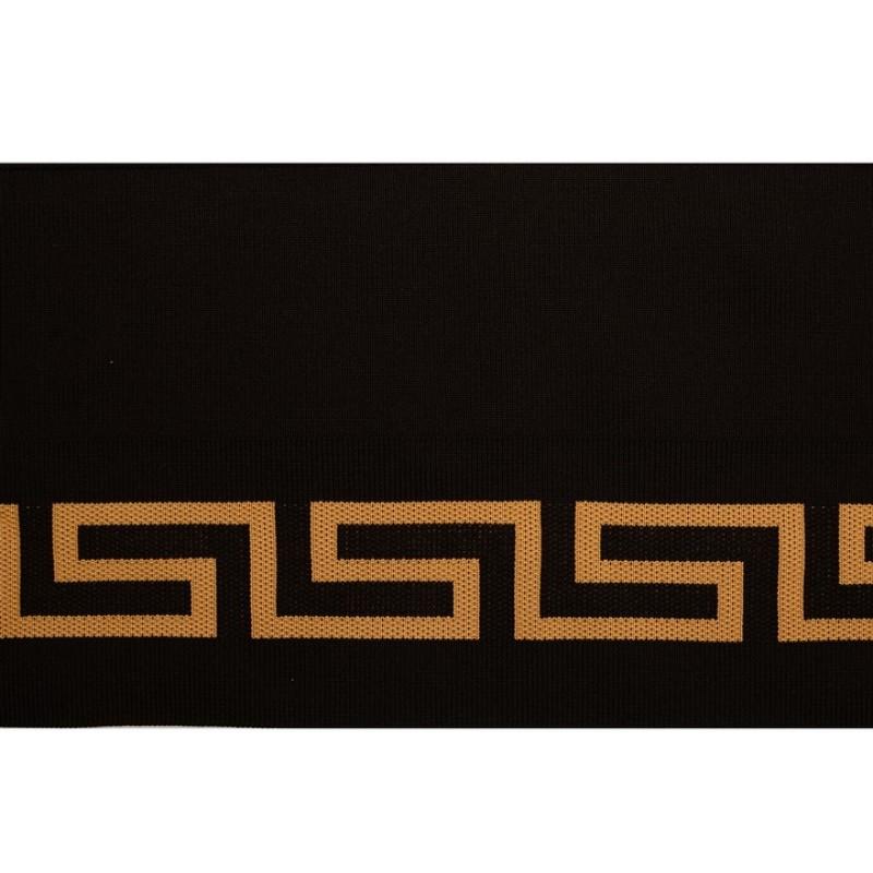 Подвяз 1*1 полиэстер 15*100см, цв:черный/бежевый с орнаментом