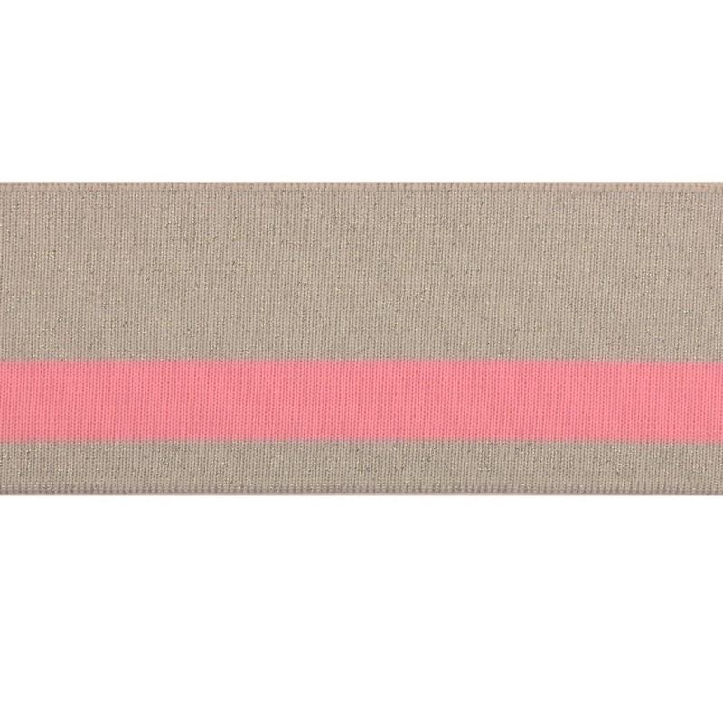 SALE Подвяз 1*1 полиэстер, 6*120см, цв:серый/люрекс серебро/розовый
