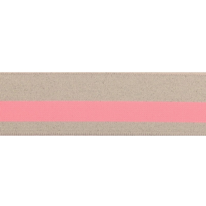 Подвяз 1*1 полиэстер 4,5*107см,цв:серый/люрекс серебро/розовый