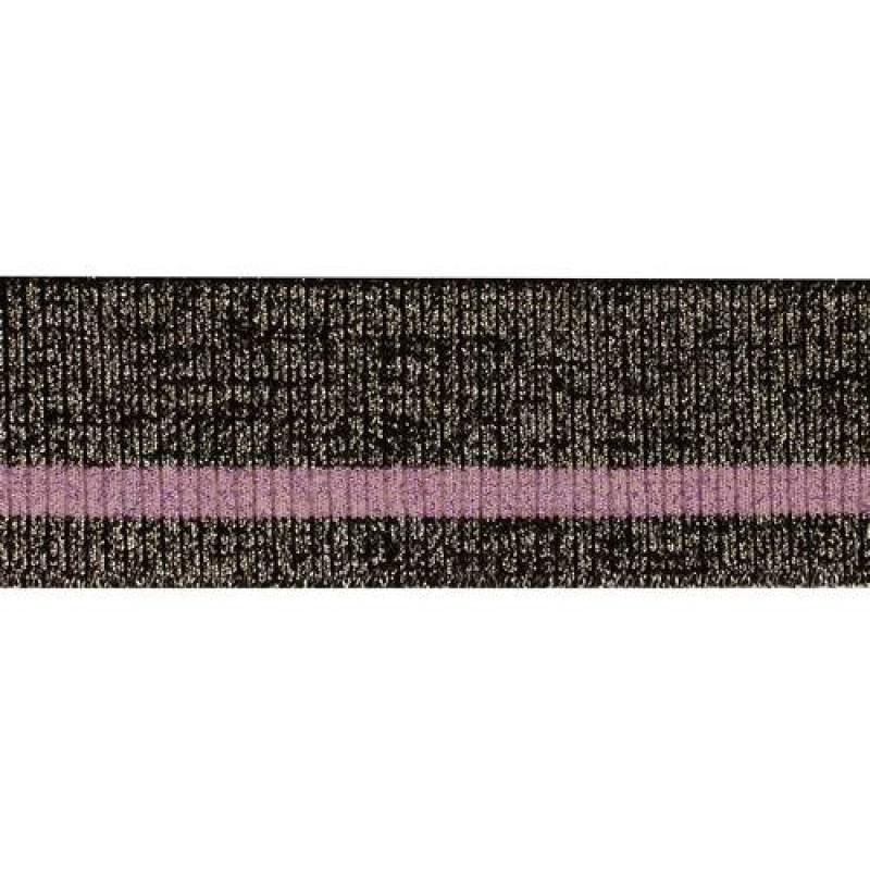 Подвяз акрил 2*2, 14кл, 4*80см, цв: черный с люрекс серебро/розовый люрекс