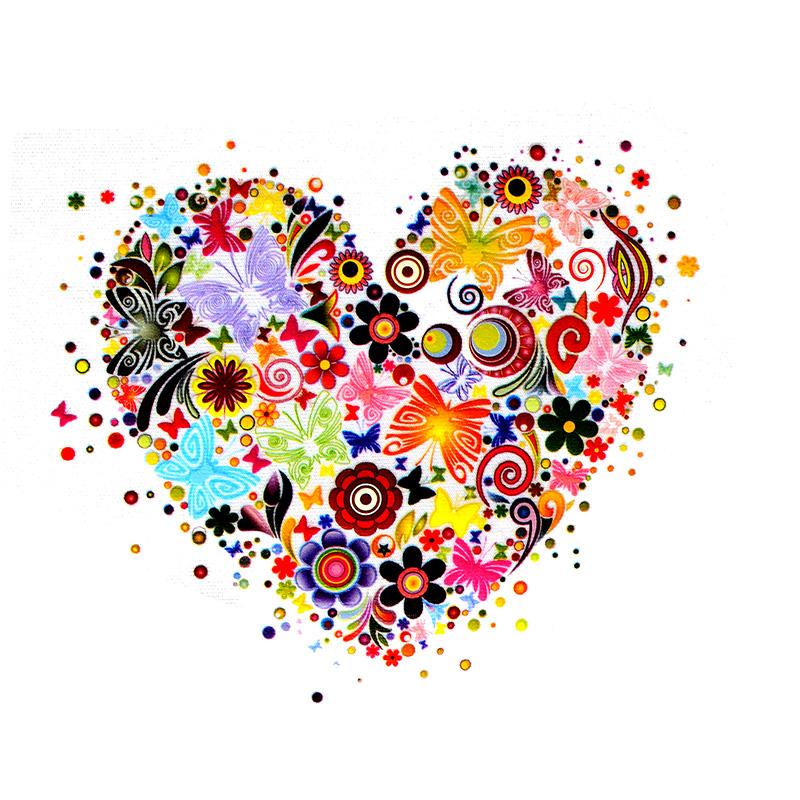 Термотрансфер FLOWERS HEART 12*9,5см