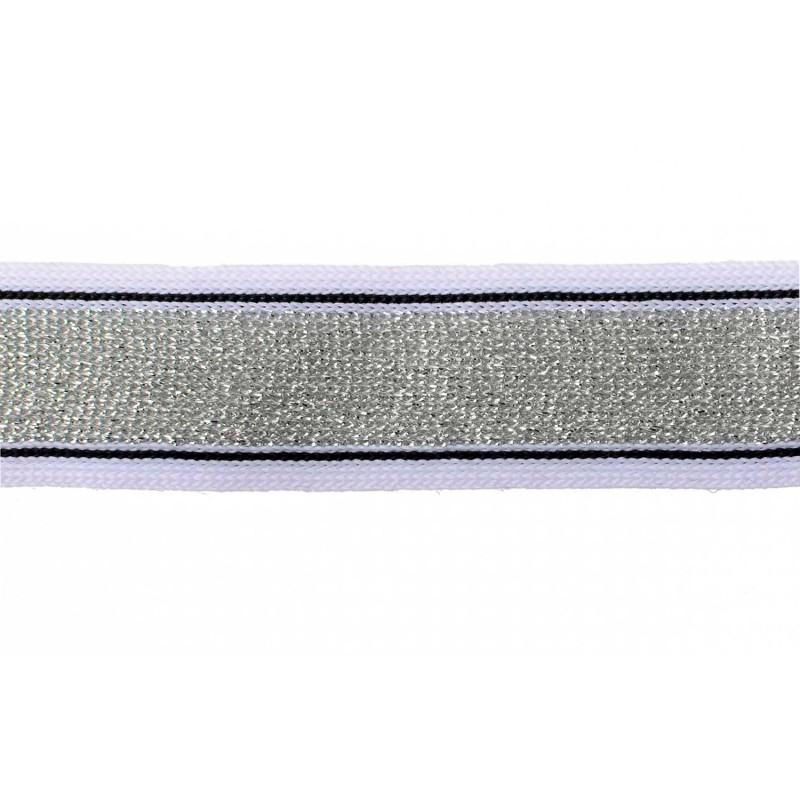 Тесьма полиэстер 2,5см с люрексом 68-70м/рулон, цв: белый/черный/серебро
