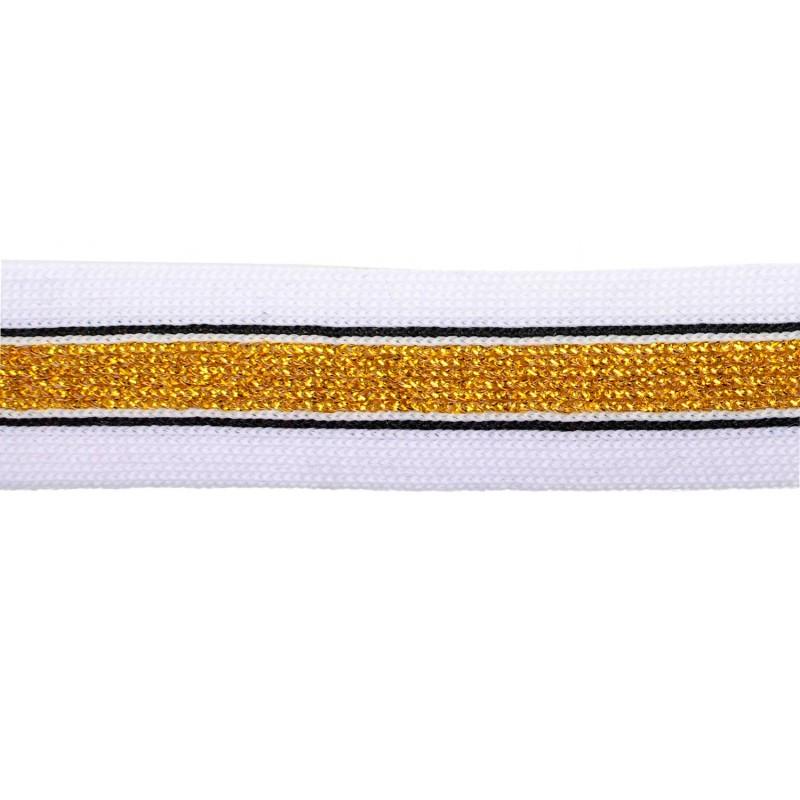 Тесьма полиэстер 2,5см с люрексом 68-70м/рулон, цв: белый/черный/золото
