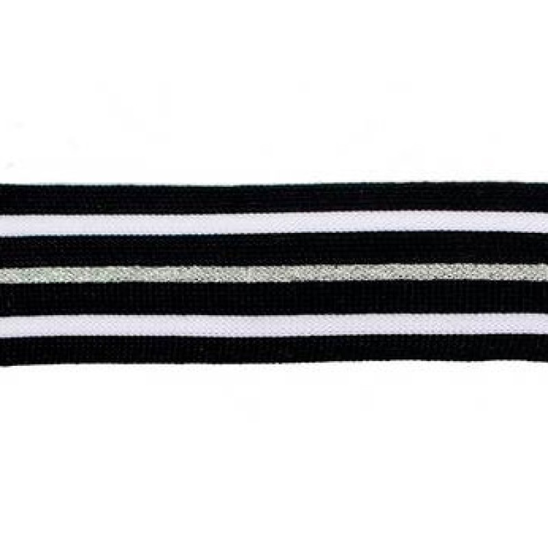 Тесьма полиэстер 2,5см с люрексом 68-70м/рулон, цв: черный/белый/серебро