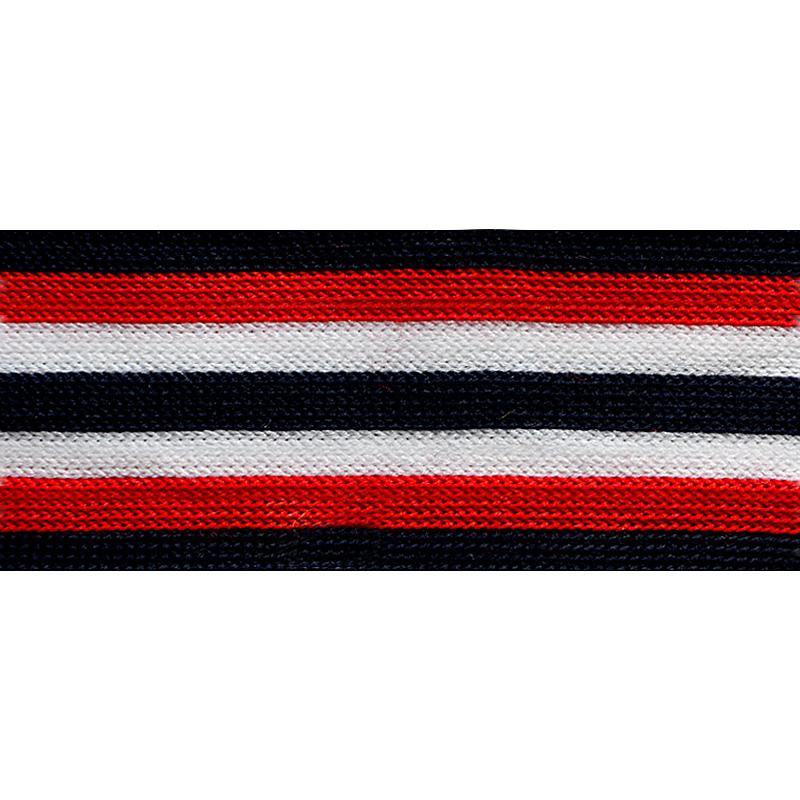 Тесьма трикотажная полиэстер 2,5см 68-70м/рулон, цв:т.синий/красный/белый