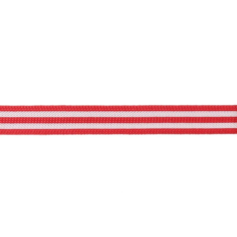 Тесьма полиэстер 1,0см трикотажная 68-70м/рулон, цв: красный/белый