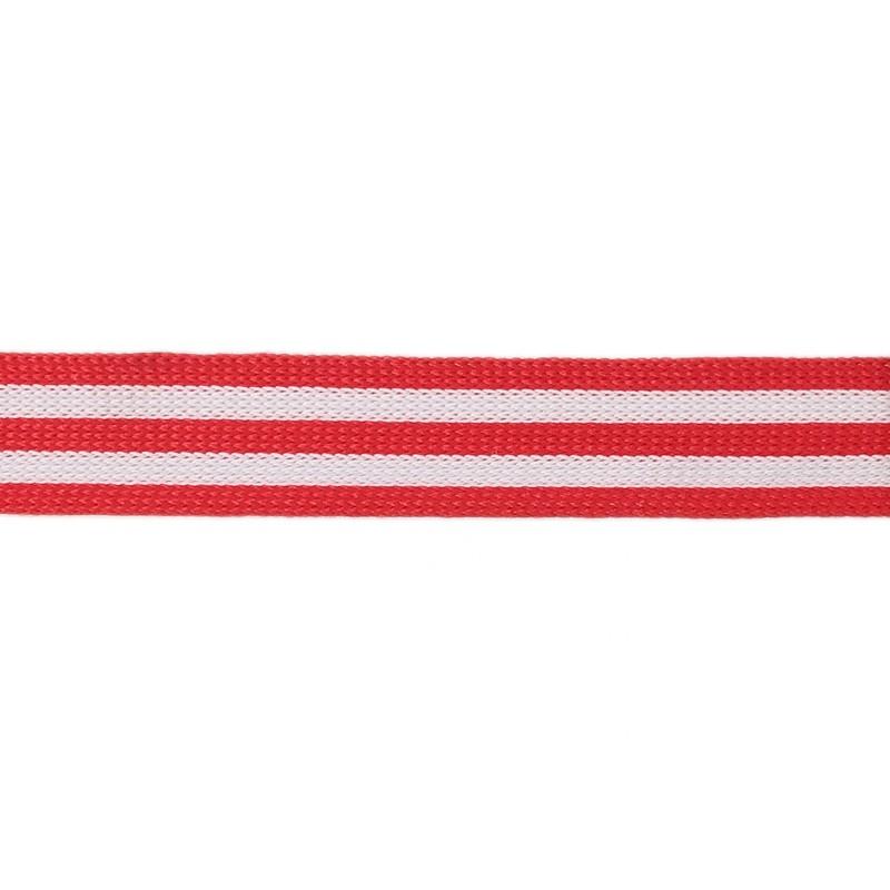 Тесьма полиэстер 1,5см трикотажная 68-70м/рулон, цв: красный/белый