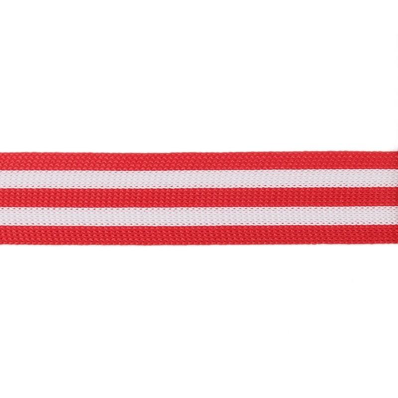Тесьма полиэстер 2,0см трикотажная 68-70м/рулон, цв: красный/белый