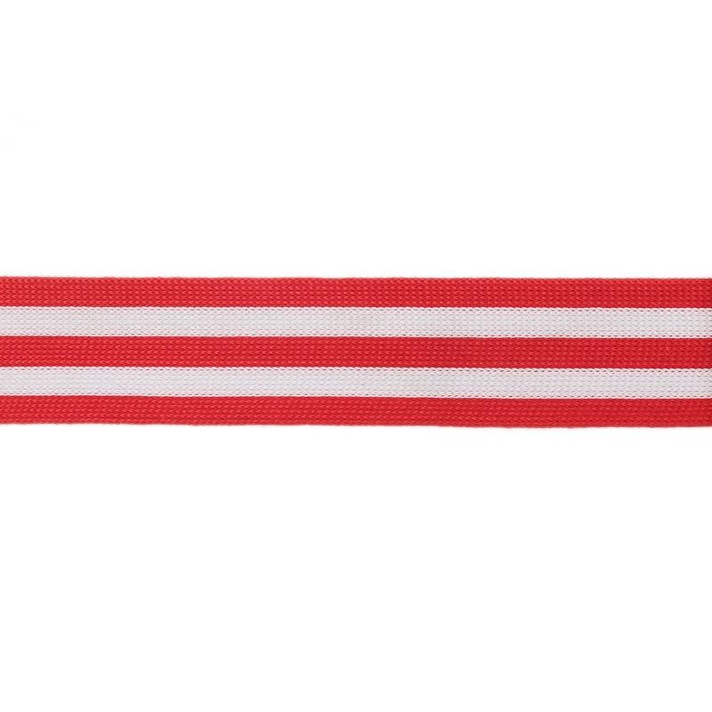 Тесьма полиэстер 2,5см трикотажная 68-70м/рулон, цв: красный/белый