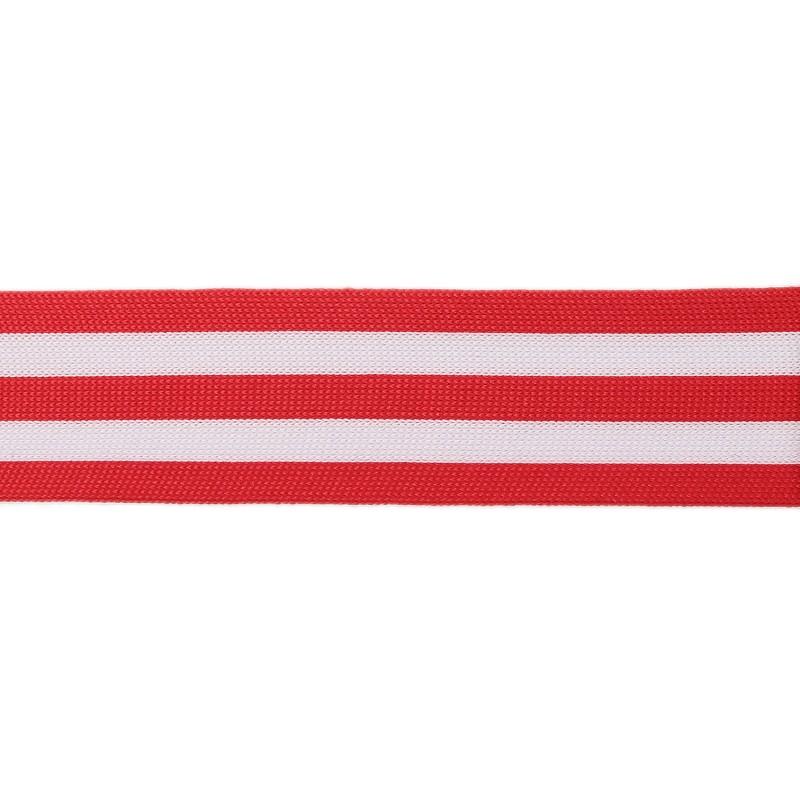 Тесьма полиэстер 3,5см трикотажная 68-70м/рулон, цв: красный/белый