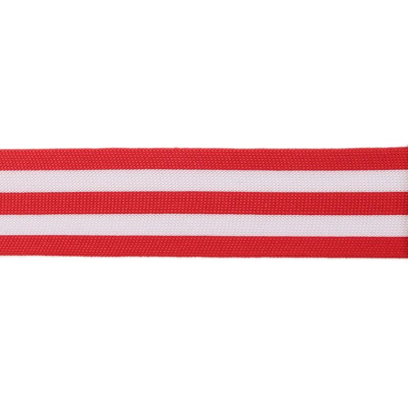 Тесьма полиэстер 4,0см трикотажная 68-70м/рулон, цв: красный/белый