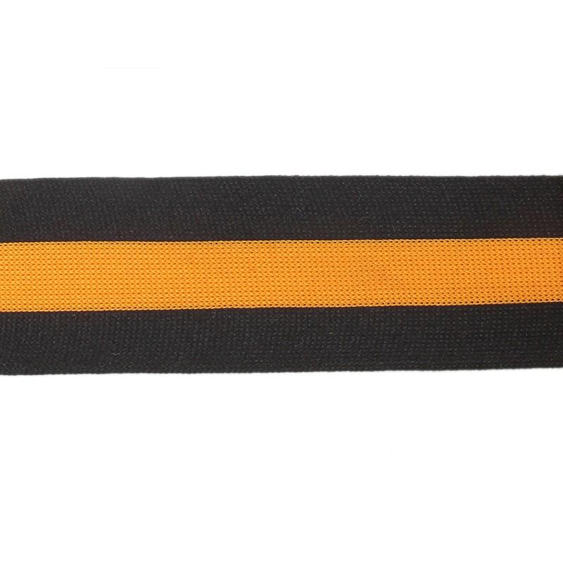 Тесьма полиэстер 5,0см трикотажная 68-70м/рулон, цв: черный/желтый