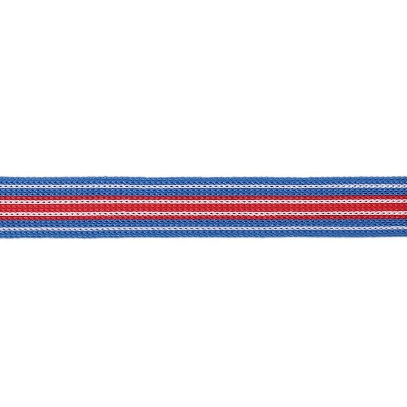 Тесьма трикотажная полиэстер 1,5см 68-70м/рулон, цв:голубой/белый/красный