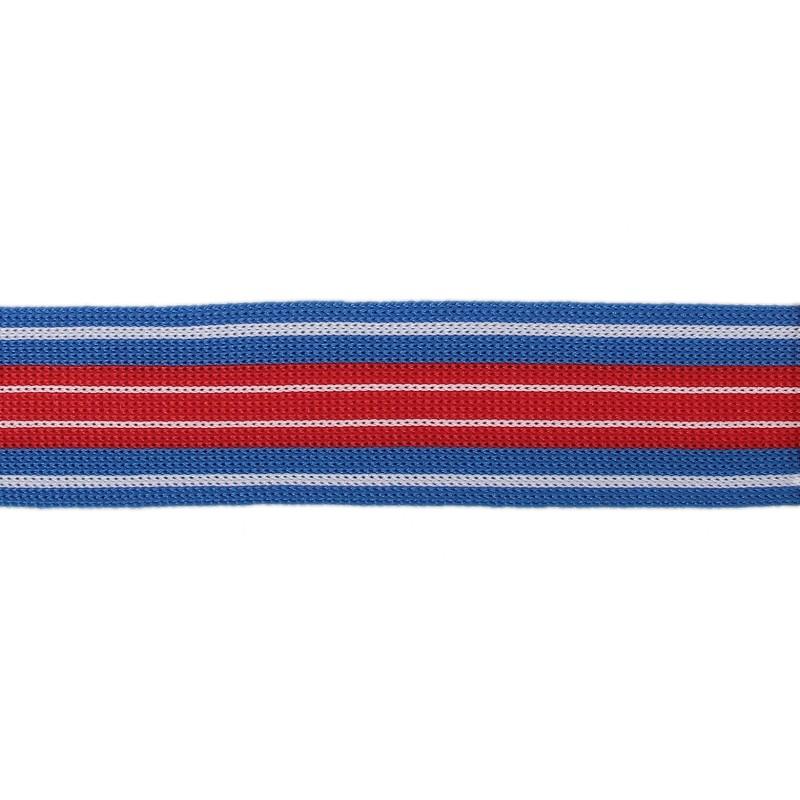 Тесьма трикотажная полиэстер 3см 68-70м/рулон, цв:голубой/белый/красный