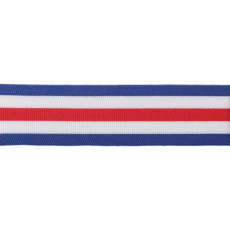 Тесьма трикотажная полиэстер 3,5см 68-70м/рулон, цв:синий/белый/красный