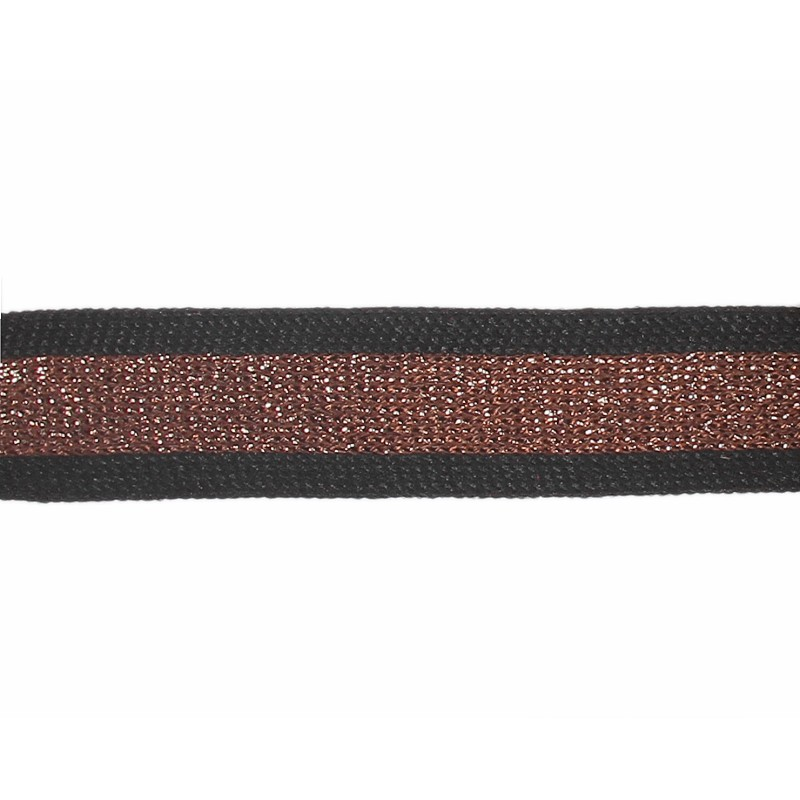 Тесьма полиэстер 2,0см с люрексом 68-70м/рулон, цв: черный/коричневый