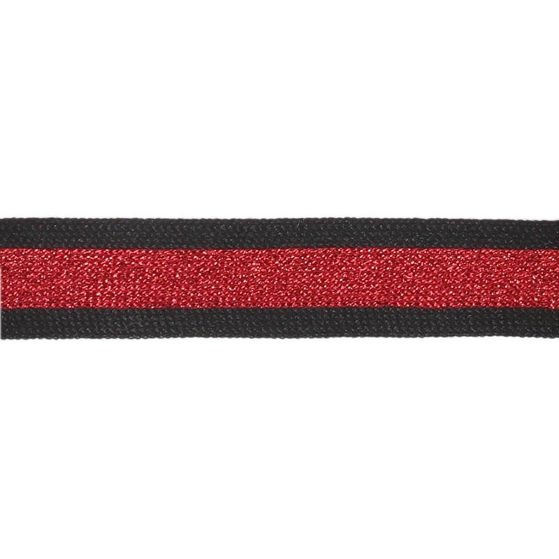 Тесьма полиэстер 2,0см с люрексом 68-70м/рулон, цв: черный/красный