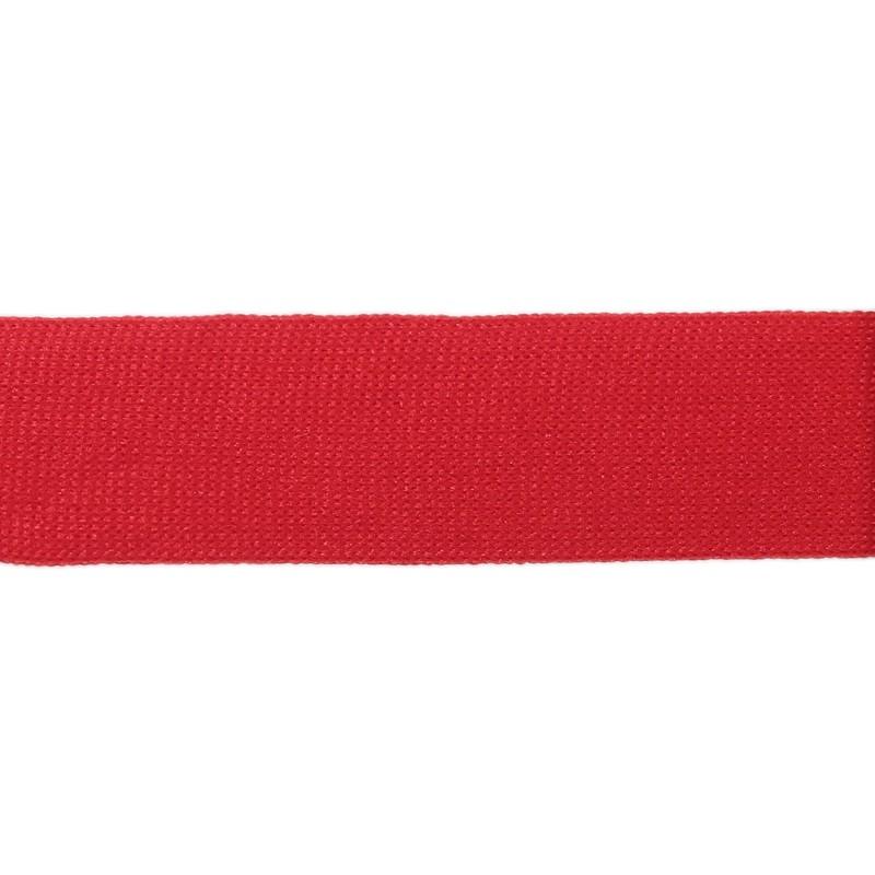 Тесьма полиэстер 2,5см трикотажная 68-70м/рулон, цв: красный