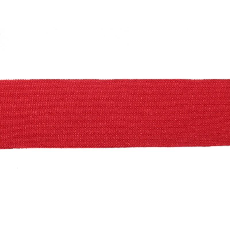 Тесьма полиэстер 4,0см трикотажная 68-70м/рулон, цв: красный