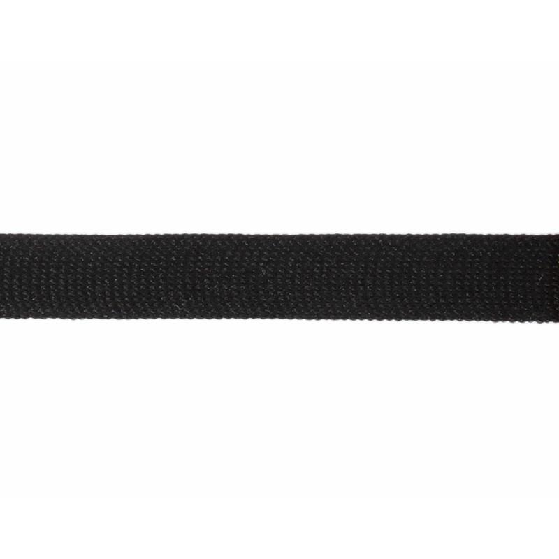 Тесьма полиэстер 1,5см трикотажная 68-70м/рулон, цв: черный
