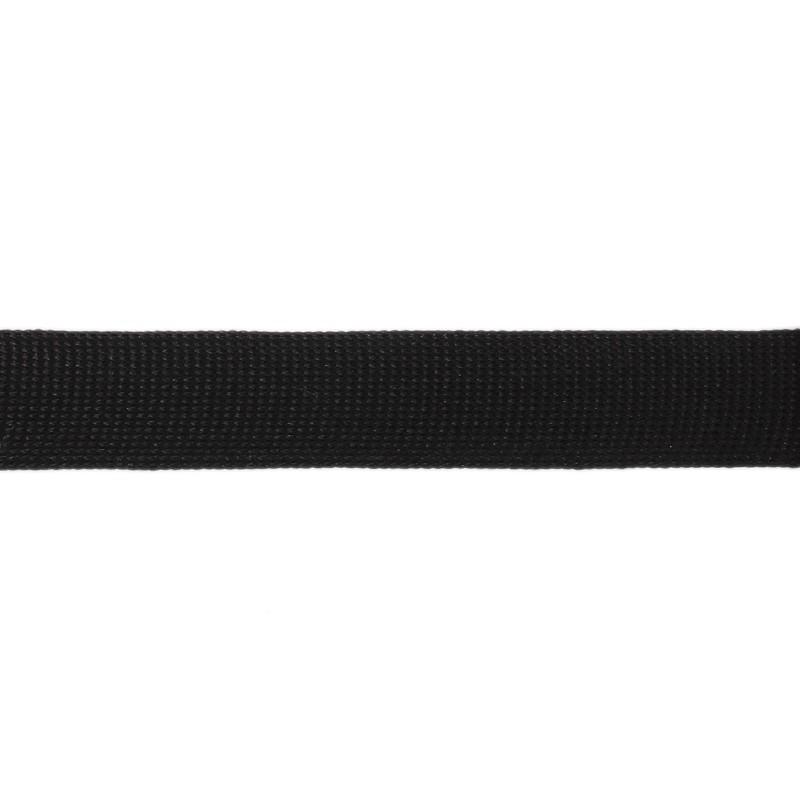 Тесьма полиэстер 2,0см трикотажная 68-70м/рулон, цв: черный