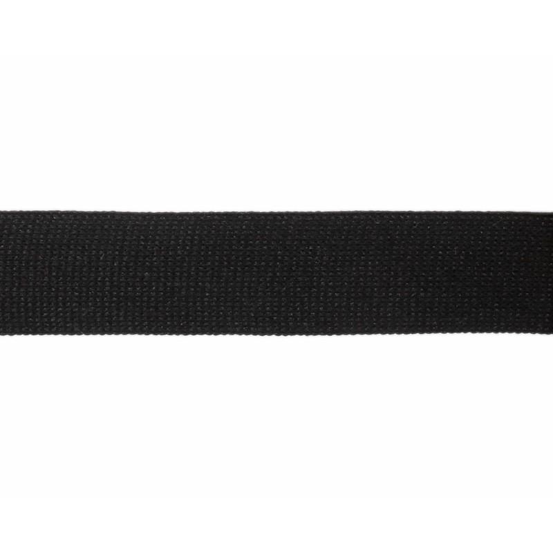 Тесьма полиэстер 2,5см трикотажная 68-70м/рулон, цв: черный