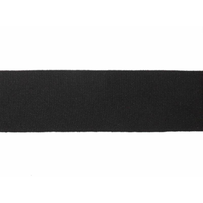 Тесьма полиэстер 4,0см трикотажная 68-70м/рулон, цв: черный
