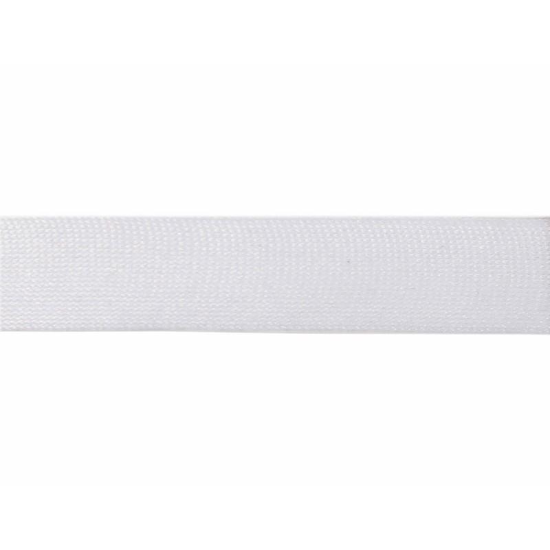 Тесьма полиэстер 2,5см трикотажная 68-70м/рулон, цв: белый
