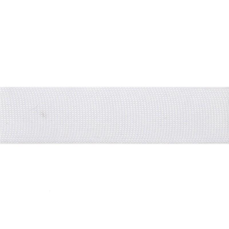 Тесьма полиэстер 3,0см трикотажная 68-70м/рулон, цв: белый
