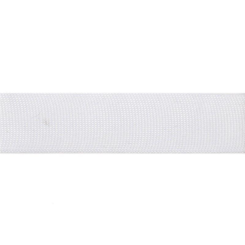 Тесьма полиэстер 3,5см трикотажная 68-70м/рулон, цв: белый