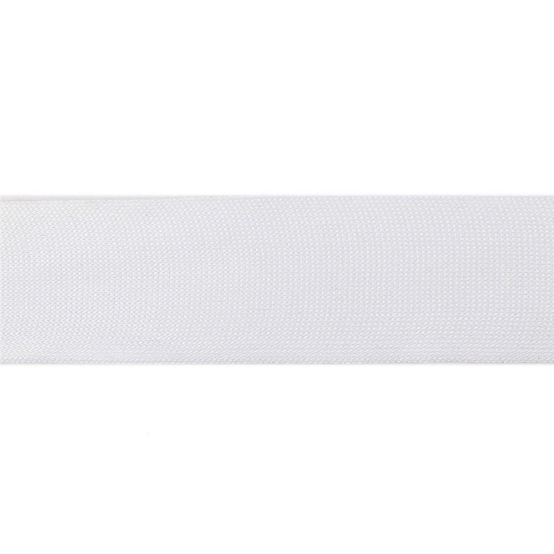 Тесьма полиэстер 4,0см трикотажная 68-70м/рулон, цв: белый