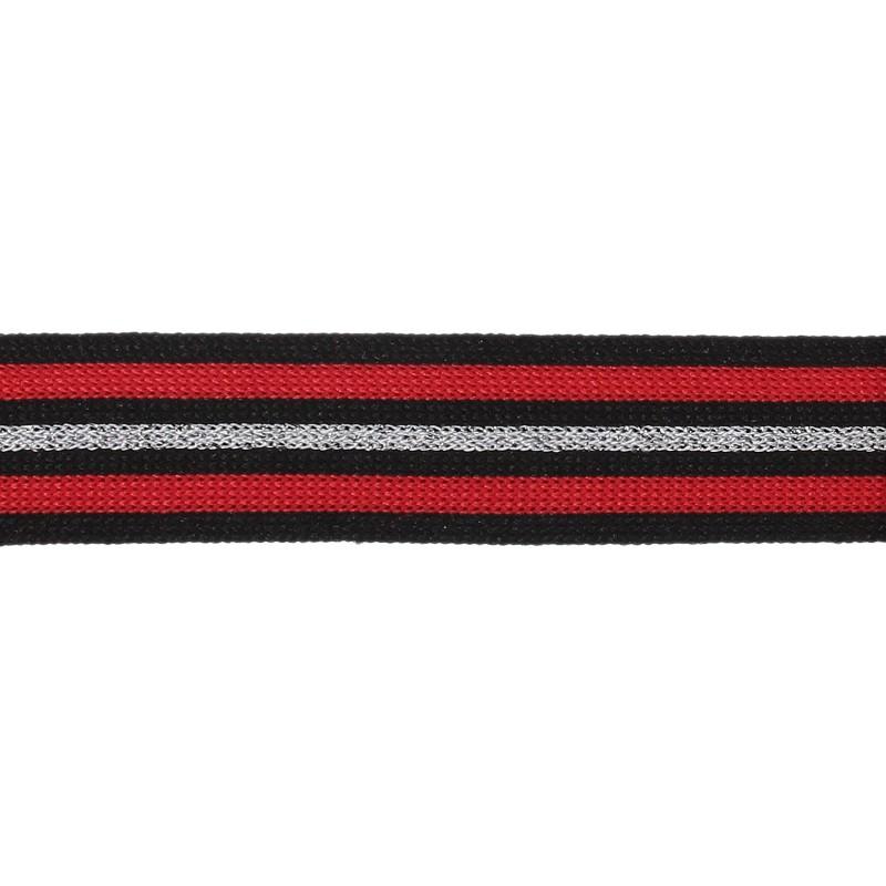 Тесьма декоративная трикотажная полиэстер/люрекс 2,5см 68-70м/рулон, цв:красный/черный/серебро