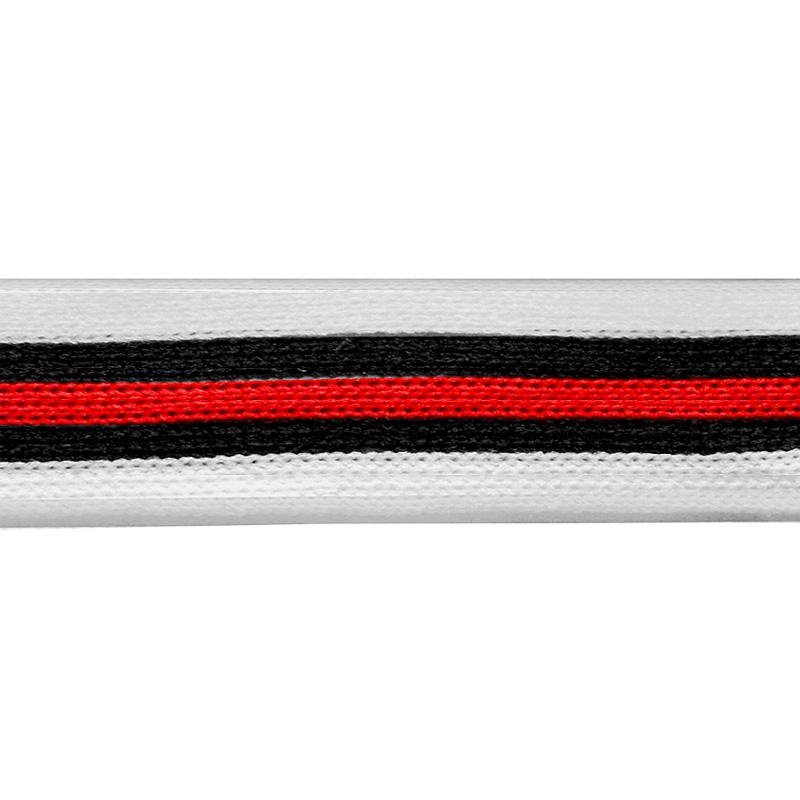 Тесьма трикотажная полиэстер 2см 68-70м/рулон,цв:белый/черный/красный