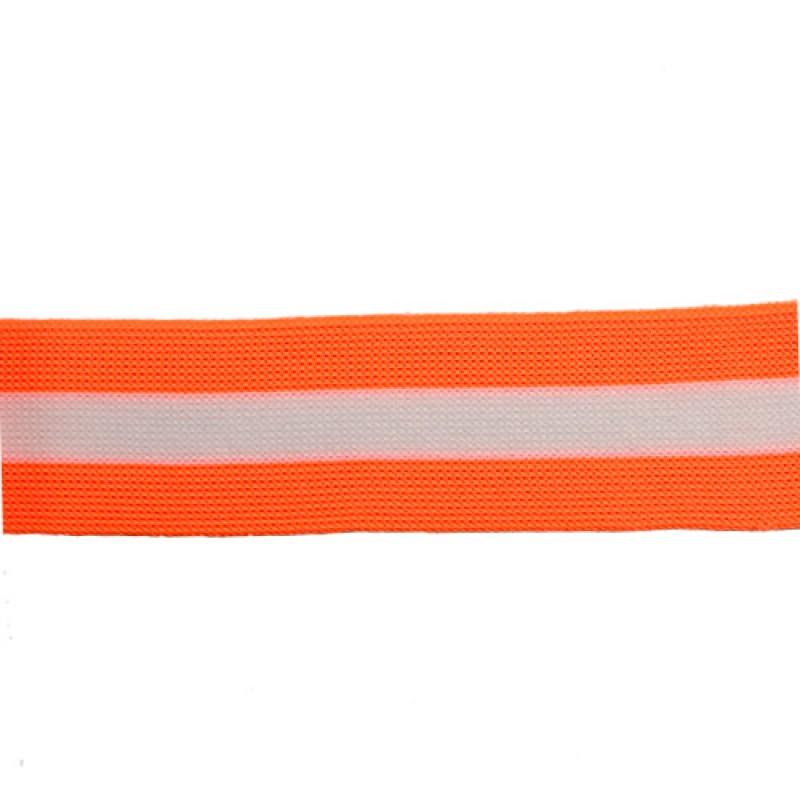 Тесьма трикотажная полиэстер 3см 68-70м/рулон,цв:оранжевый неон/белый