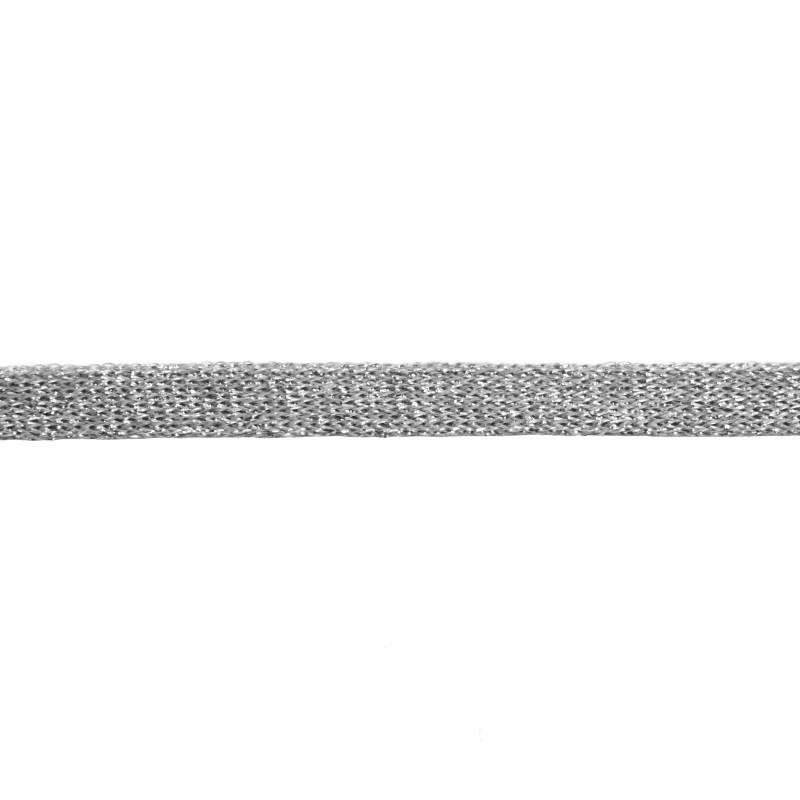 Тесьма полиэстер 1,0см с люрексом 68-70м/рулон, цв: серый/серебро