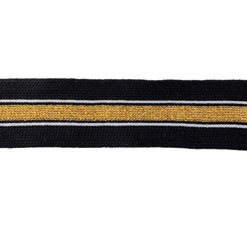 Тесьма полиэстер 2,5см с люрексом 68-70м/рулон, цв: черный/белый/золото