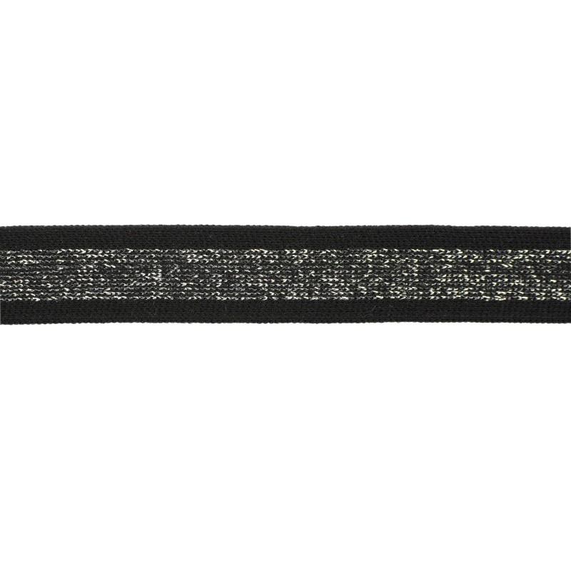 Тесьма полиэстер 2,0см с люрексом 68-70м/рулон, цв: черный/т.серебро