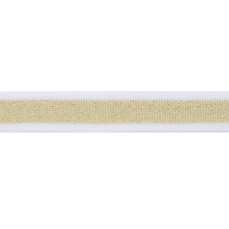 Тесьма полиэстер 2,0см с люрексом 68-70м/рулон, цв: белый/золото