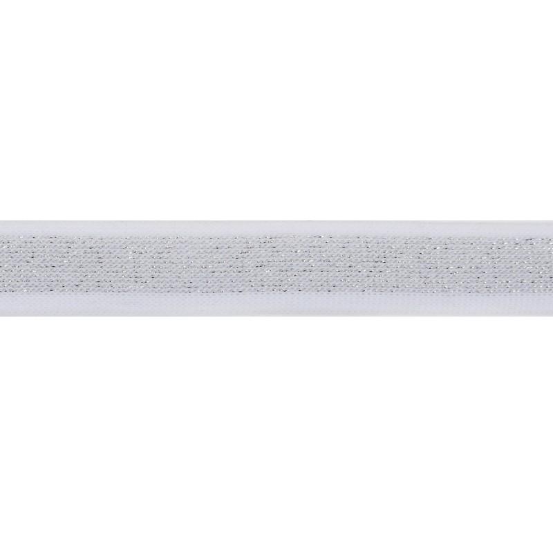 Тесьма полиэстер 2,0см с люрексом 68-70м/рулон, цв: белый/серебро