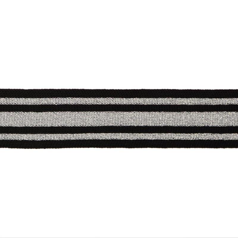 Тесьма трикотажная полиэстер/люрекс 3,5см 68-70м/рулон, цв:черный/люрекс серебро/серый