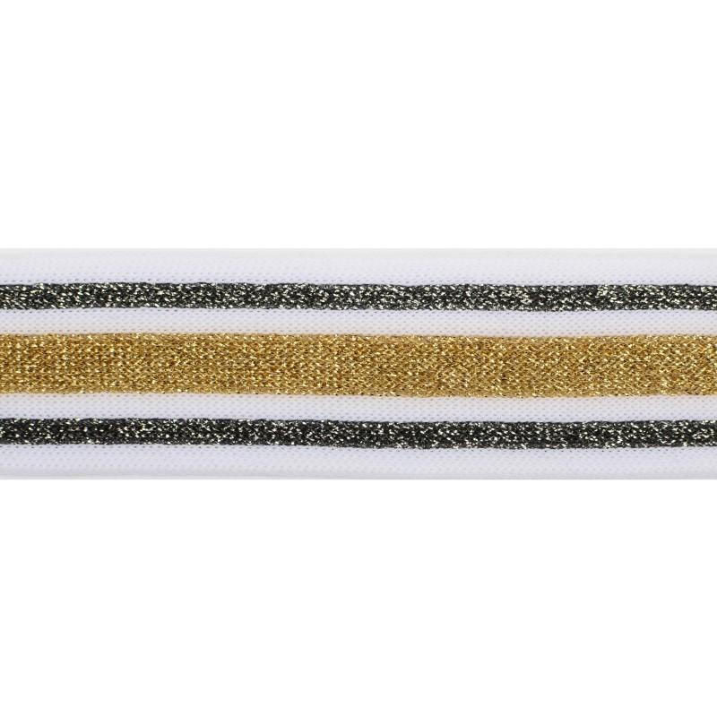 Тесьма полиэстер 2,5см с люрексом 68-70м/рулон, цв: белый/золото