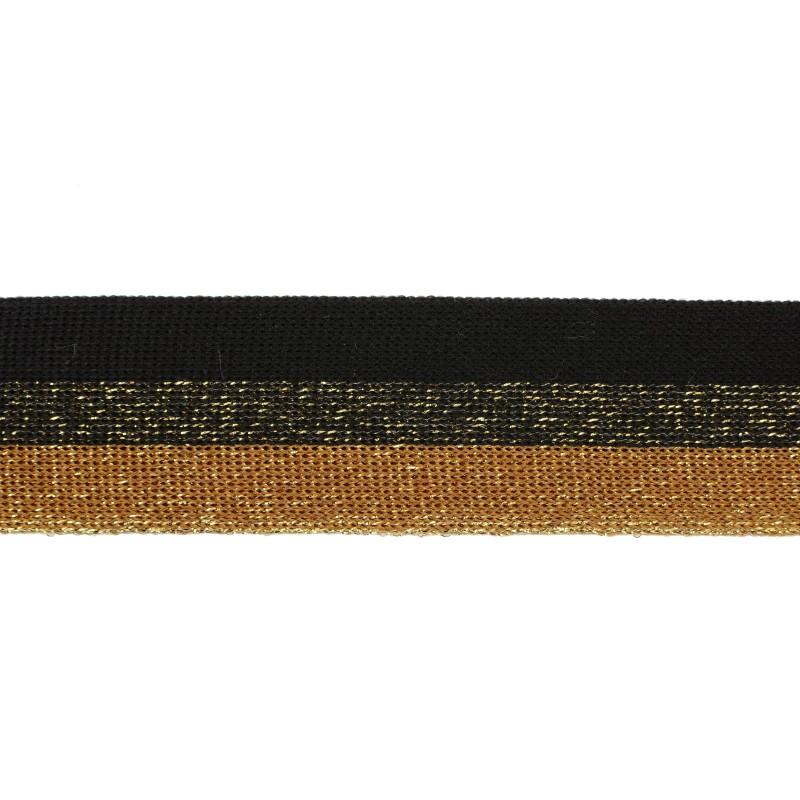 Тесьма полиэстер 3,5см с люрексом 68-70м/рулон, цв: черный/золото