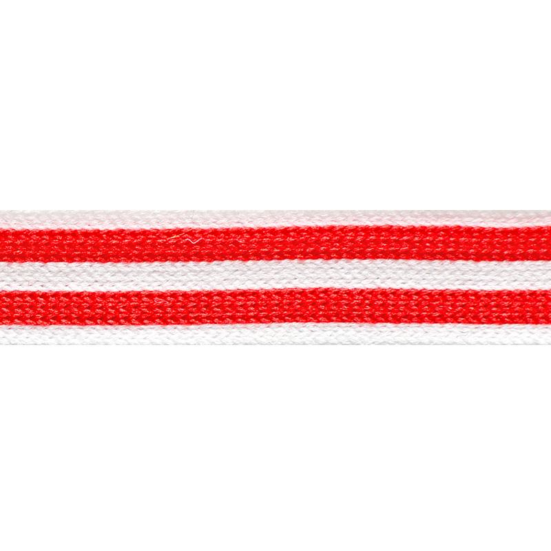 Тесьма трикотажная полиэстер 1,5см 68-70м/рулон, цв:белый/красный