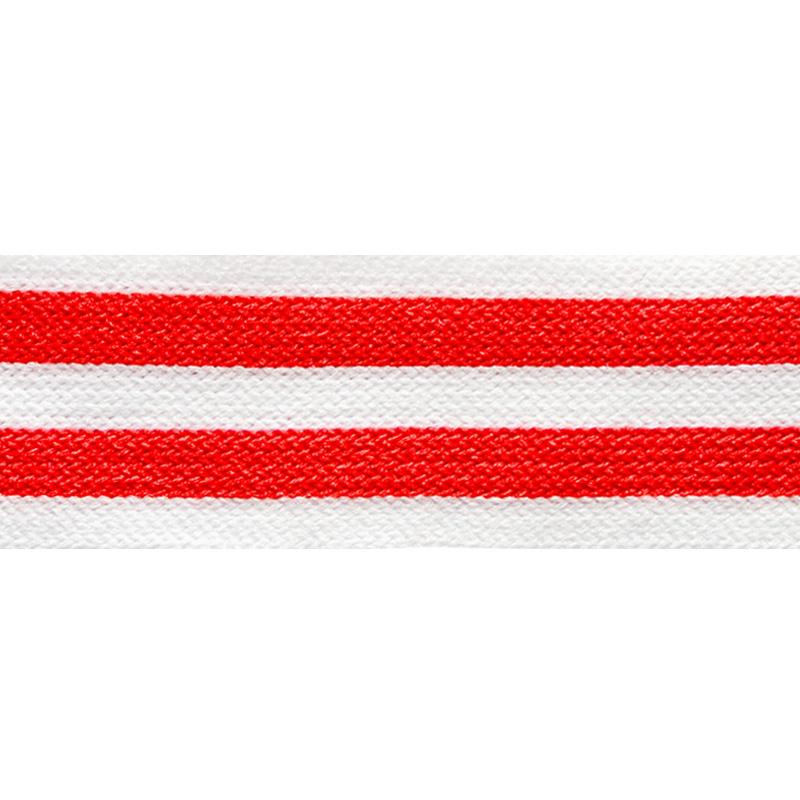 Тесьма трикотажная полиэстер 2,5см 68-70м/рулон, цв:белый/красный
