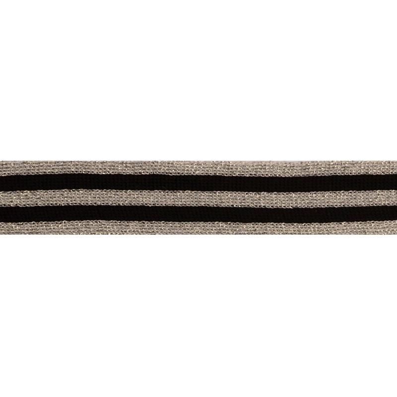 Тесьма полиэстер/люрекс 2,5см 68-70м/рулон, цв:черный/люрекс серебро
