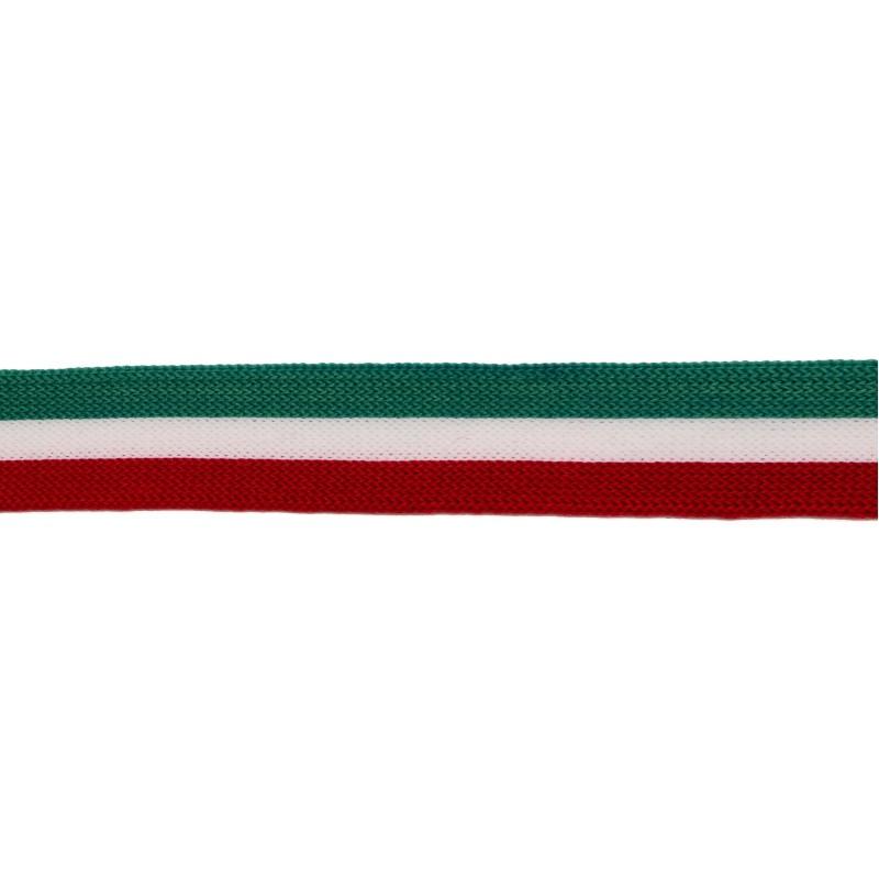 Тесьма полиэстер 2см 68-70м/рулон, цв:бирюзовый/белый/бордовый