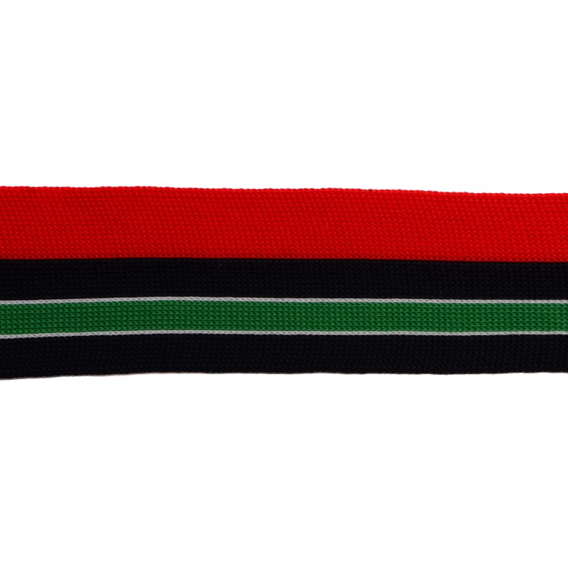 Тесьма полиэстер 4см 68-70м/рулон, цв:красный/т.синий/белый/зеленый