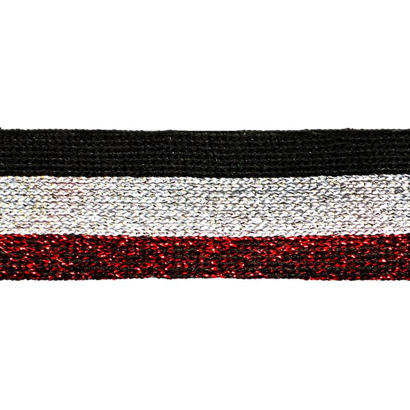 Тесьма трикотажная полиэстер 25см 68-70м/рулон, цв:черный/серебро люрекс/красный люрекс